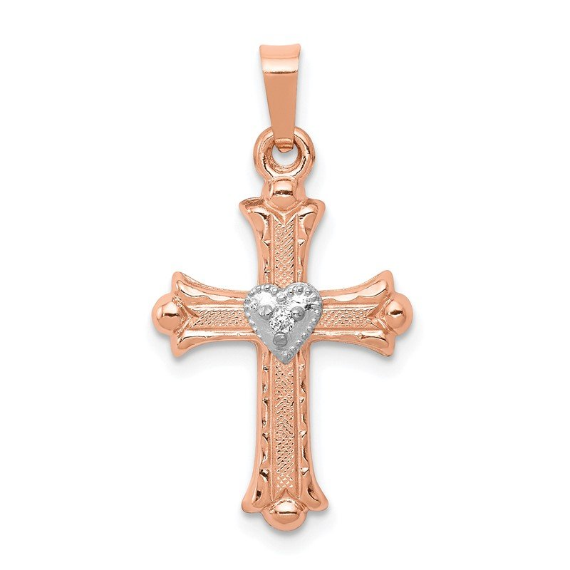 Quality Gold 14K Two-Tone Rose and White Gold Diamond Cross Pendant