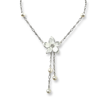 Sterling Silver Stephanotis Floral Necklace-White. Diamond, Pearl.