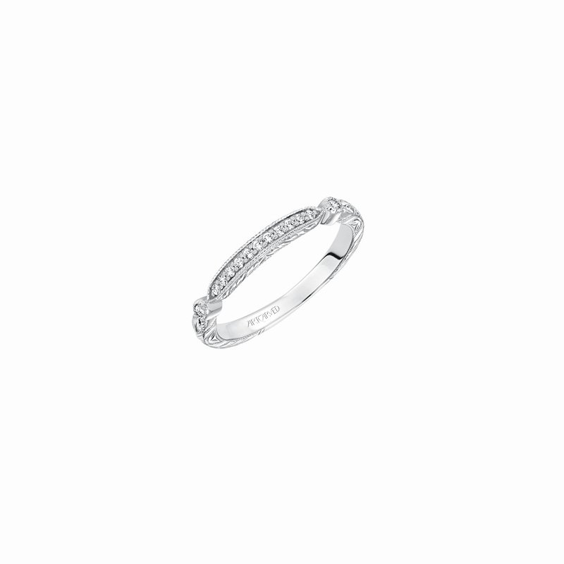 ArtCarved Engraved Diamond Wedding Band
