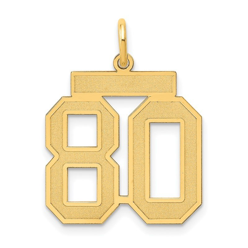 Quality Gold 14k Medium Satin Number 80 Charm