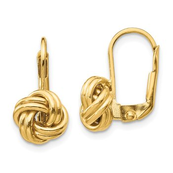 14k Polished Love Knot Leverback Earrings