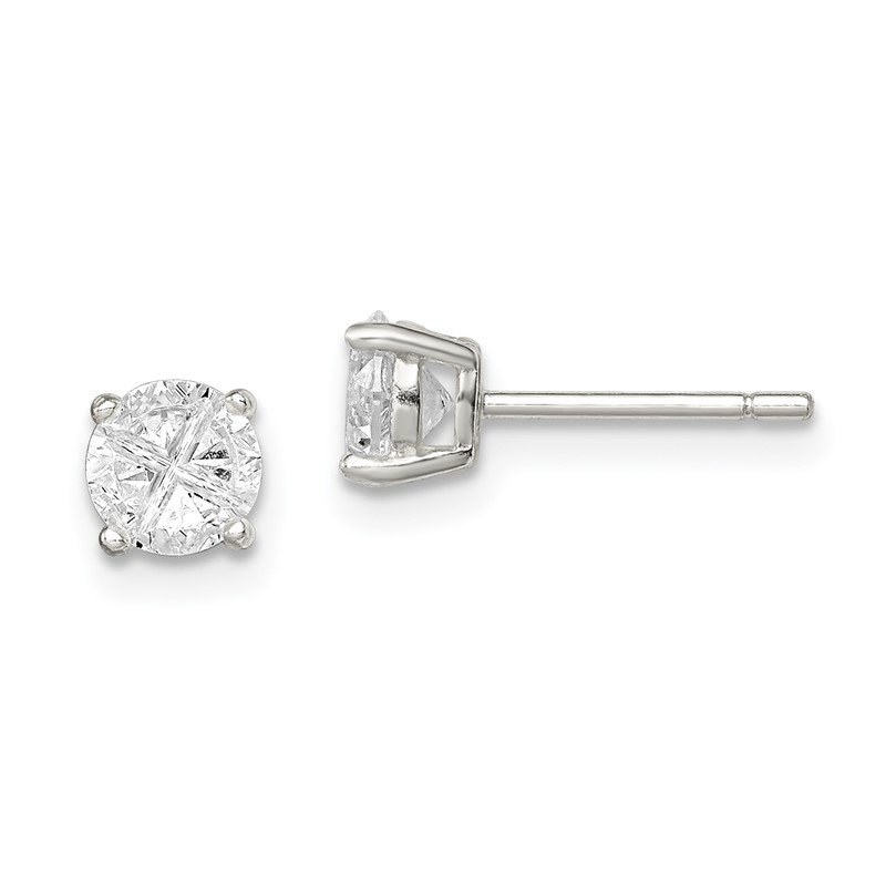 Quality Gold Sterling Silver 5mm Round Basket Set Cross-cut CZ Stud Earrings