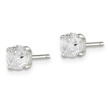 Sterling Silver 5mm Round Basket Set Cross-cut CZ Stud Earrings