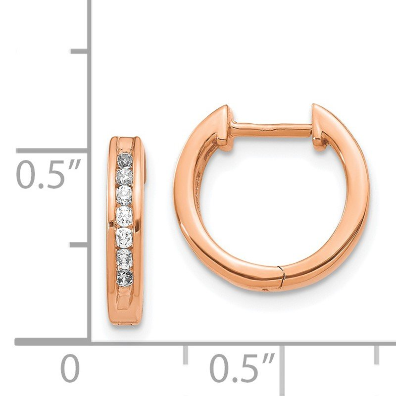 Quality Gold 14k Rose Gold Diamond Hinged Hoop Earrings