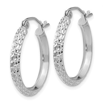14K White Gold Knife Edge Diamond-cut 2.5x20mm Hoop Earrings