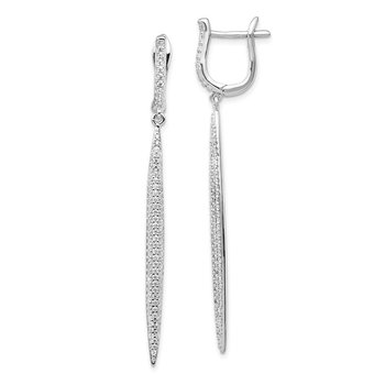 Sterling Silver CZ Dangle Bar Leverback Earrings