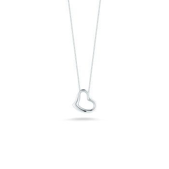 Small Slanted Heart Pendant &Ndash; 18K White Gold