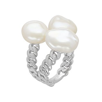 Honora Sterling Silver 8-11mm White Baroque Freshwater Cultured Pearl Triple Open Ring