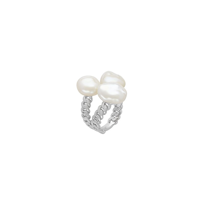 Honora Honora Sterling Silver 8-11mm White Baroque Freshwater Cultured Pearl Triple Open Ring