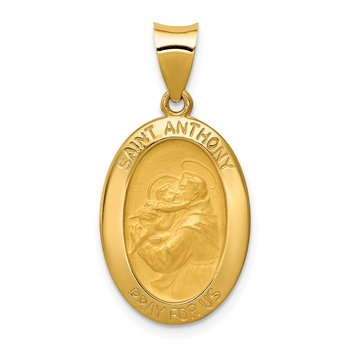 14k Polished and Satin St. Anthony Medal Hollow Pendant