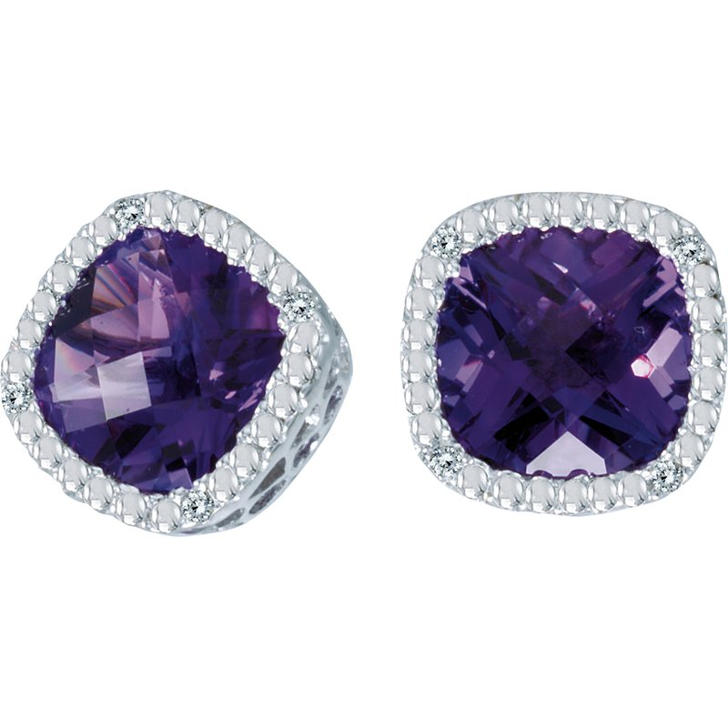 Color Merchants 14k White Gold Cushion Cut Amethyst And Diamond Earrings