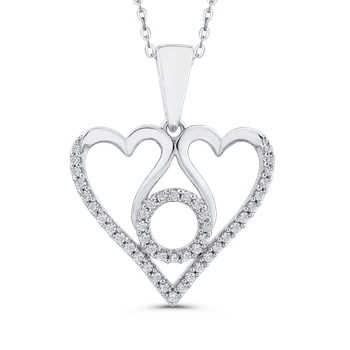 1/5 ct Round White Diamond 10K White Gold Heart Pendant with Chain