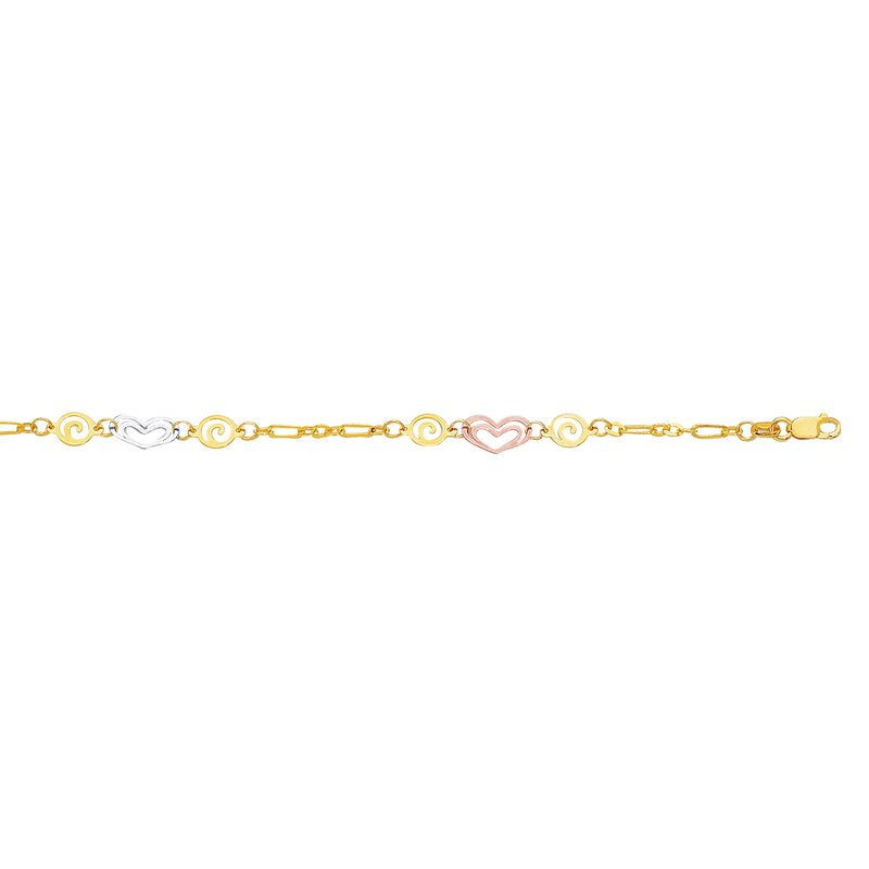 Royal Chain 14K Tri-color Gold Heart and Swirl Anklet