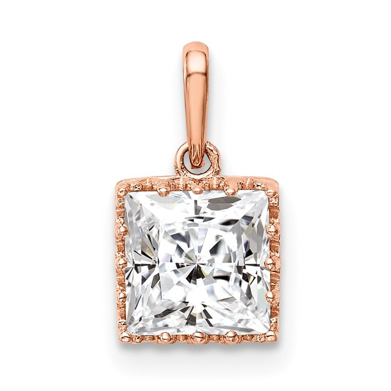 Quality Gold 10k Tiara Collection Rose Gold Polished Square CZ Pendant