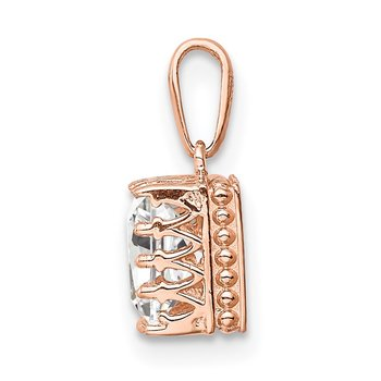 10k Tiara Collection Rose Gold Polished Square CZ Pendant