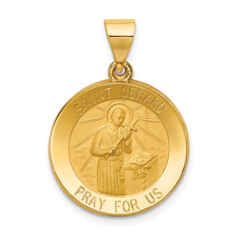 Quality Gold 14k Polished and Satin St Gerard Medal Hollow Pendant