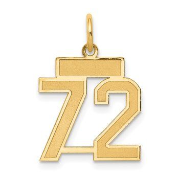14k Small Satin Number 72 Charm