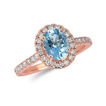14K RG and diamond Engagement Ring set with Oval Acquamarine Shape Halo and 8x6 MM Oval Center in Split Prong Setting