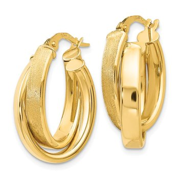 Leslie's 14K Polished Scratch-finish Oval Hoop Earrings