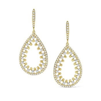 14K Ornate Open Teardrop Earrings
