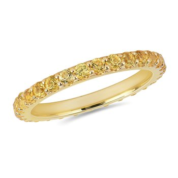 14K YG and yellow sapphire Eternity Band in Prong Setting