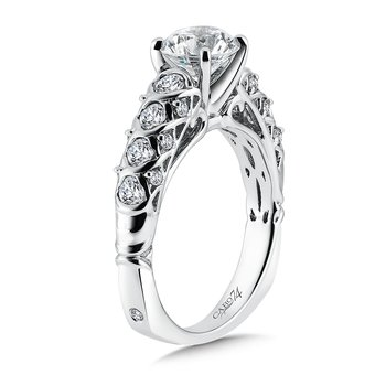 Classic Elegance Collection Engagement Ring With Diamond Side Stones in 14K White Gold with Platinum Head (1-1/4ct. tw.)