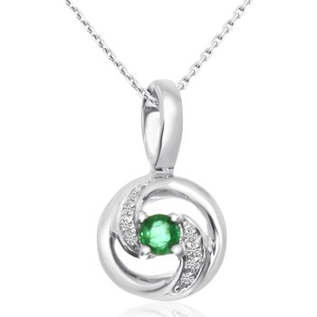 14k White Gold Swirl Emerald and Diamond Pendant