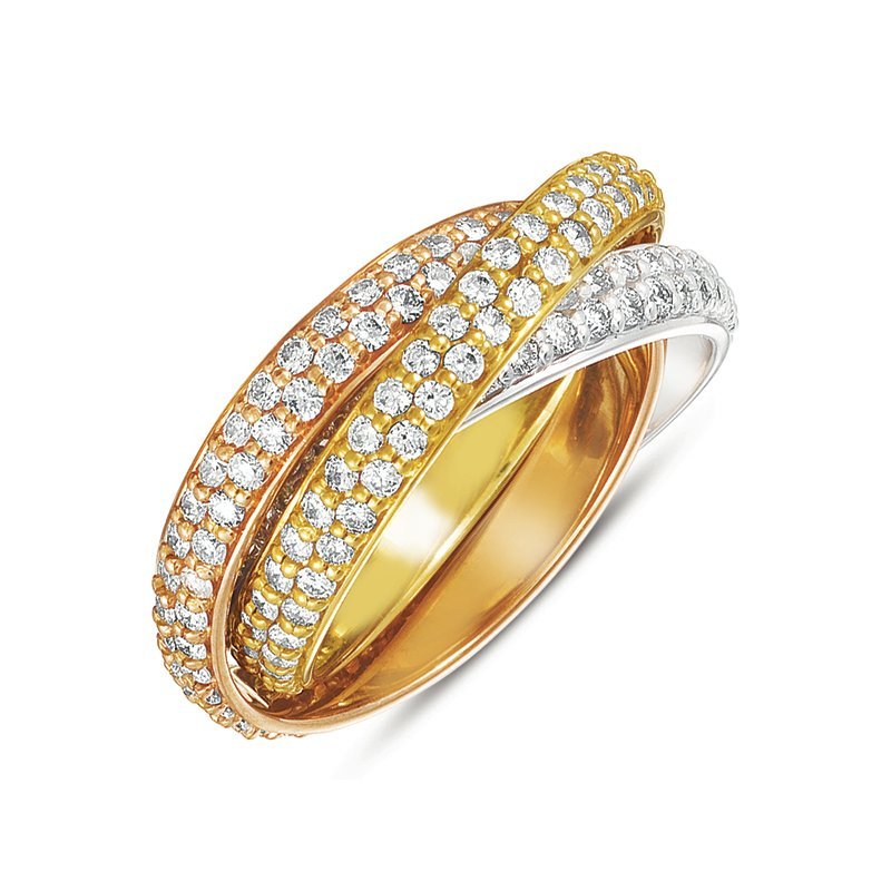 MAZZARESE Bridal Shared Prong Tri-Color Eternity