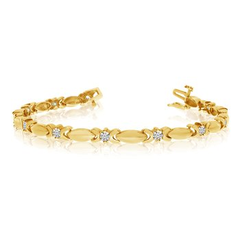 14k Yellow Gold Bar Diamond Tennis Bracelet