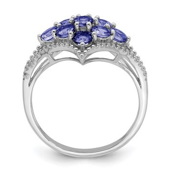Sterling Silver Rhodium Tanzanite Ring