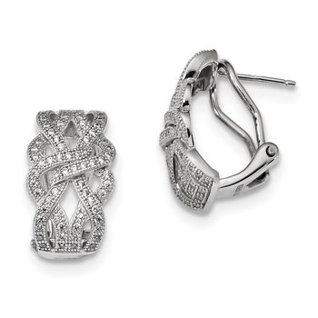 SS Rhodium-Plated CZ Brilliant Embers Omega back Earrings