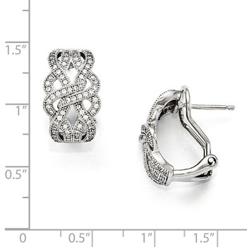 Sterling Silver & CZ Brilliant Embers Polished Omega back Earrings
