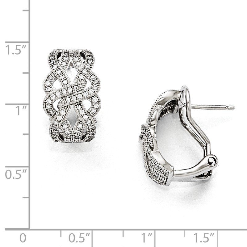Quality Gold SS Rhodium-Plated CZ Brilliant Embers Omega back Earrings