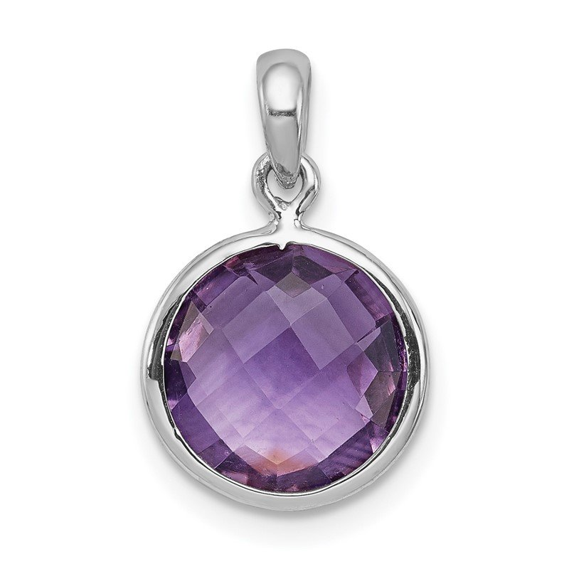 Quality Gold Sterling Silver Rhodium-plated Amethyst Pendant