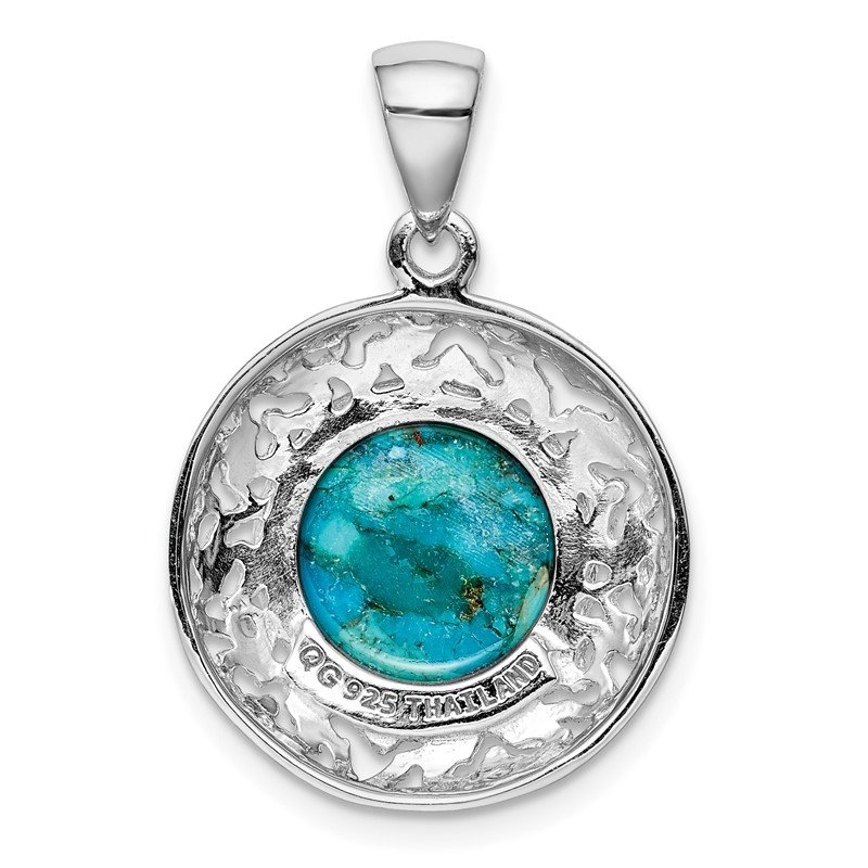 DiamondJewelryNY Sterling Silver Rhodium-Plated W//Reconstituted Turquoise Pendant