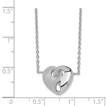 Sterling Silver RH-plated Satin/Pol Intertwined Heart w/1in. Ext. Necklace