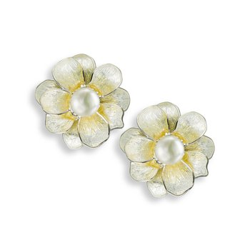 Yellow Camellia Stud Earrings.Sterling Silver-Freshwater Pearls