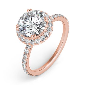 Rose Gold Halo Enagagment RIng