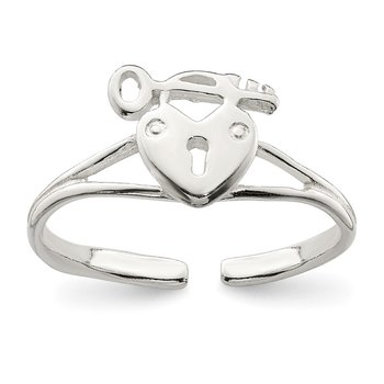 Sterling Silver Heart Lock & Key Toe Ring