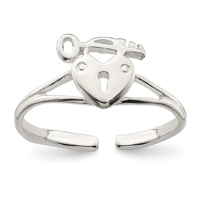Quality Gold Sterling Silver Heart Lock & Key Toe Ring