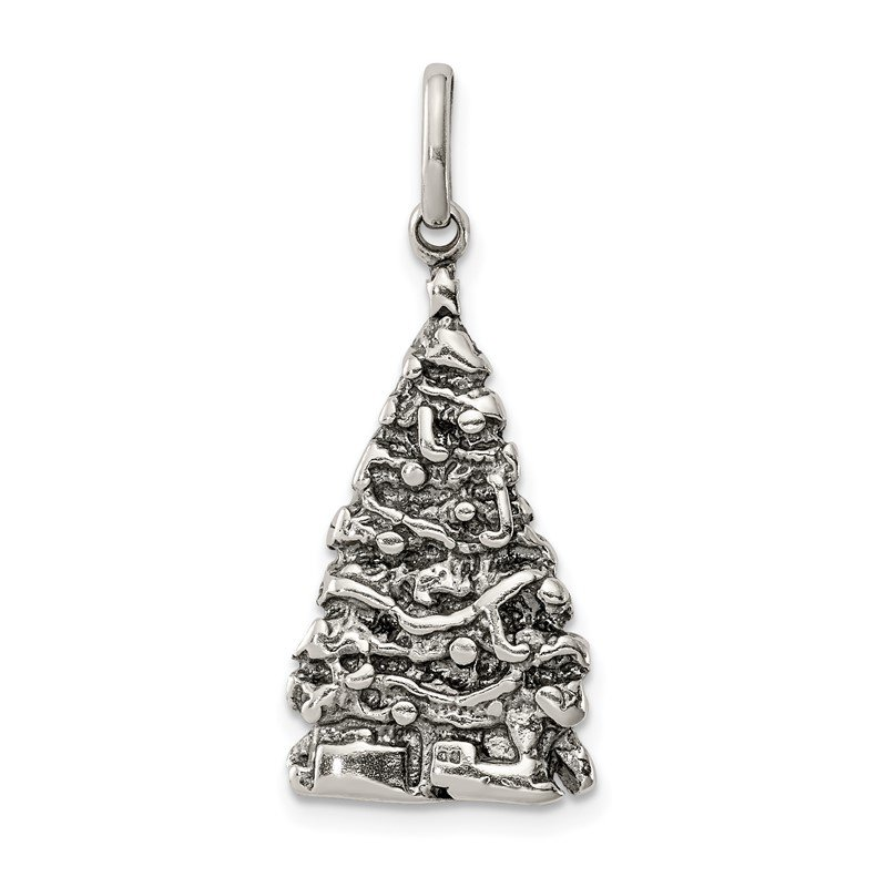 Quality Gold Sterling Silver Antiqued Christmas Tree Charm