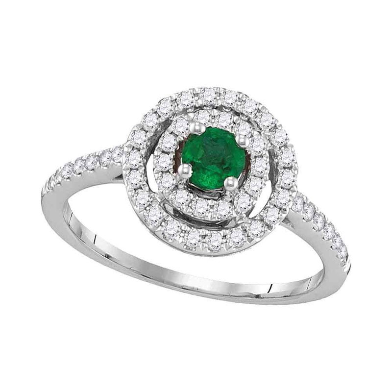 Gold-N-Diamonds, Inc. (Atlanta) 18kt White Gold Womens Round Emerald Solitaire Concentric Circle Frame Ring 5/8 Cttw