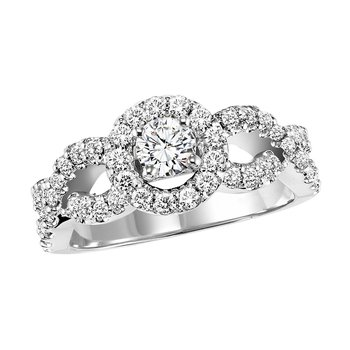 14K Diamond Engagement Ring 5/8 ctw with 3/8 ct Center
