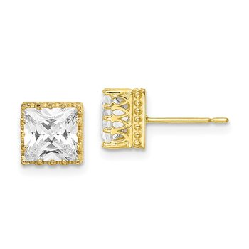 10k Tiara Collection 7mm Polished Square CZ Earrings
