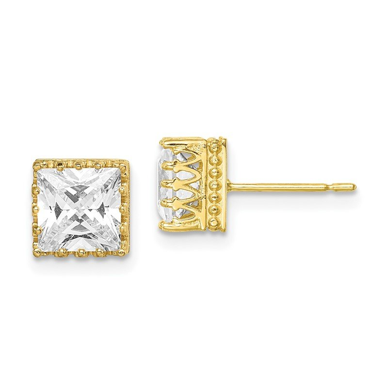 Quality Gold 10k Tiara Collection 7mm Polished Square CZ Earrings