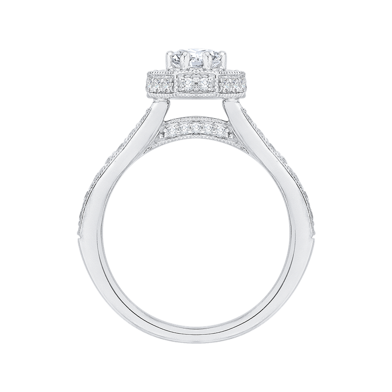 Promezza 14K White Gold Round Diamond Octagon Shape Halo Engagement Ring