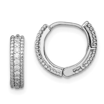 Sterling Silver Rhodium-plated Polished CZ Hinged Hoop Earrings