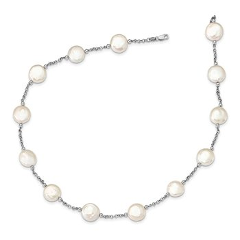 Sterling Silver 12-13mm White Coin FWC Pearl 13-station Necklace