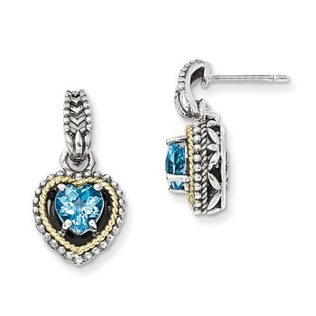 Sterling Silver w/14k Antiqued Blue Topaz Heart Post Dangle Earrings
