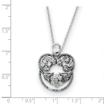 Sterling Silver CZ Antiqued Angel of Grace 18in Necklace